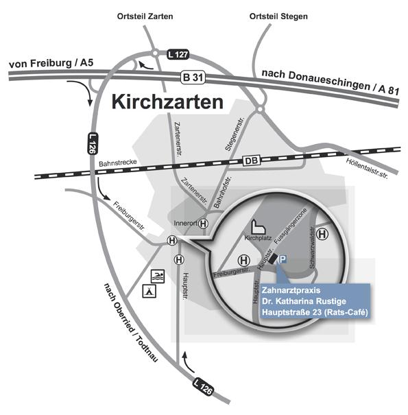 Anfahrt zur Zahnarztpraxis Dr. Rustige in Kirchzarten bei Freiburg.